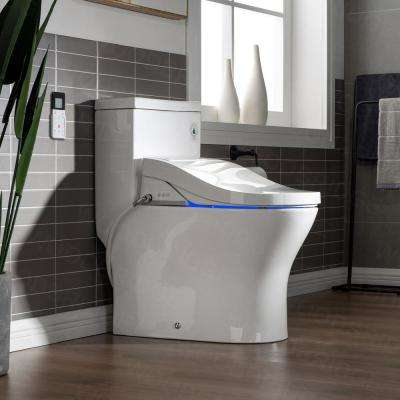 Journey One Piece 1.1GPF/1.6 GPF Dual Flush Elongated Toilet with Advance Smart Washlet BID01 Bidet in White
