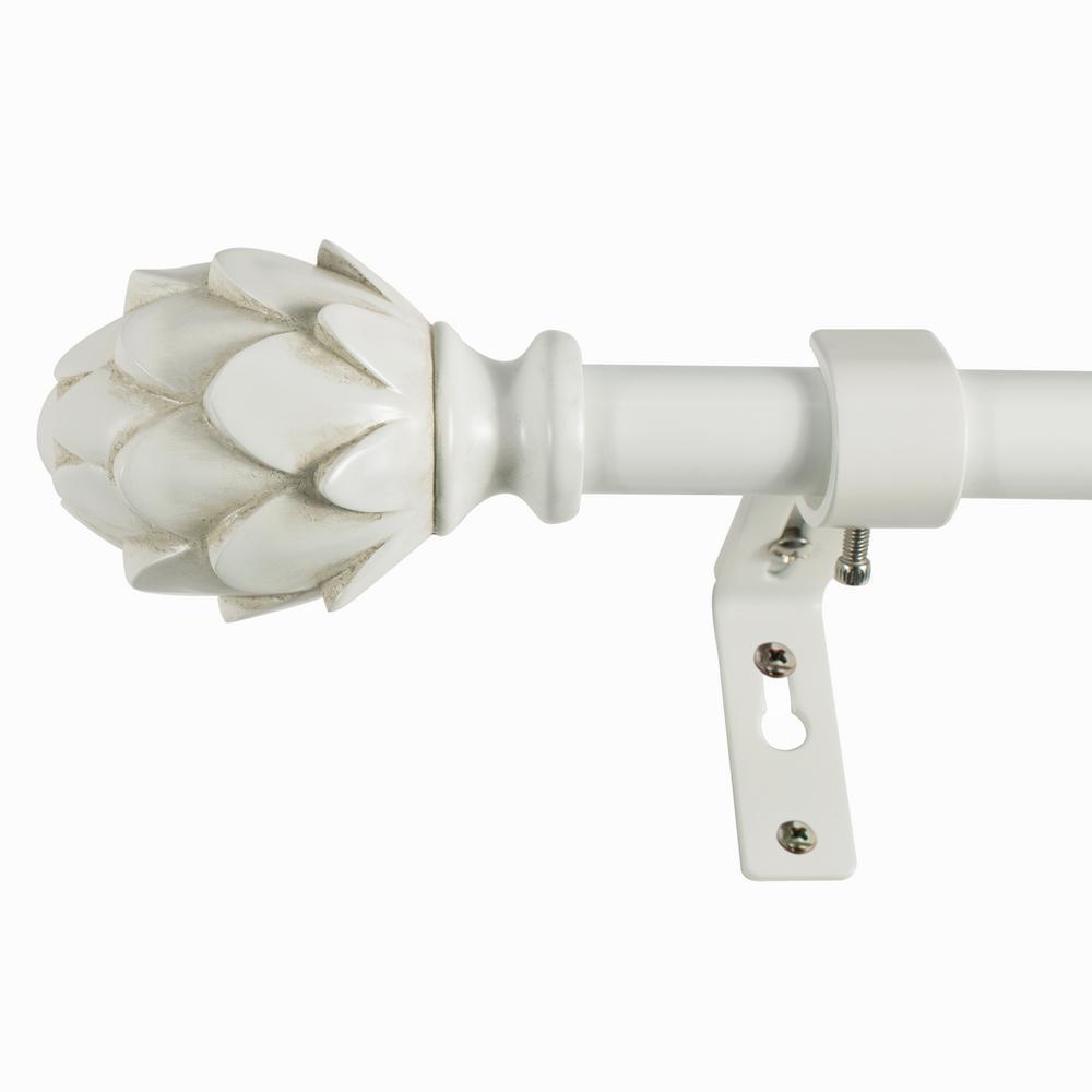 Decopolitan Rustic Artichoke 36 in. - 72 in. L 3/4 in. Dia Single Rod in Antique White