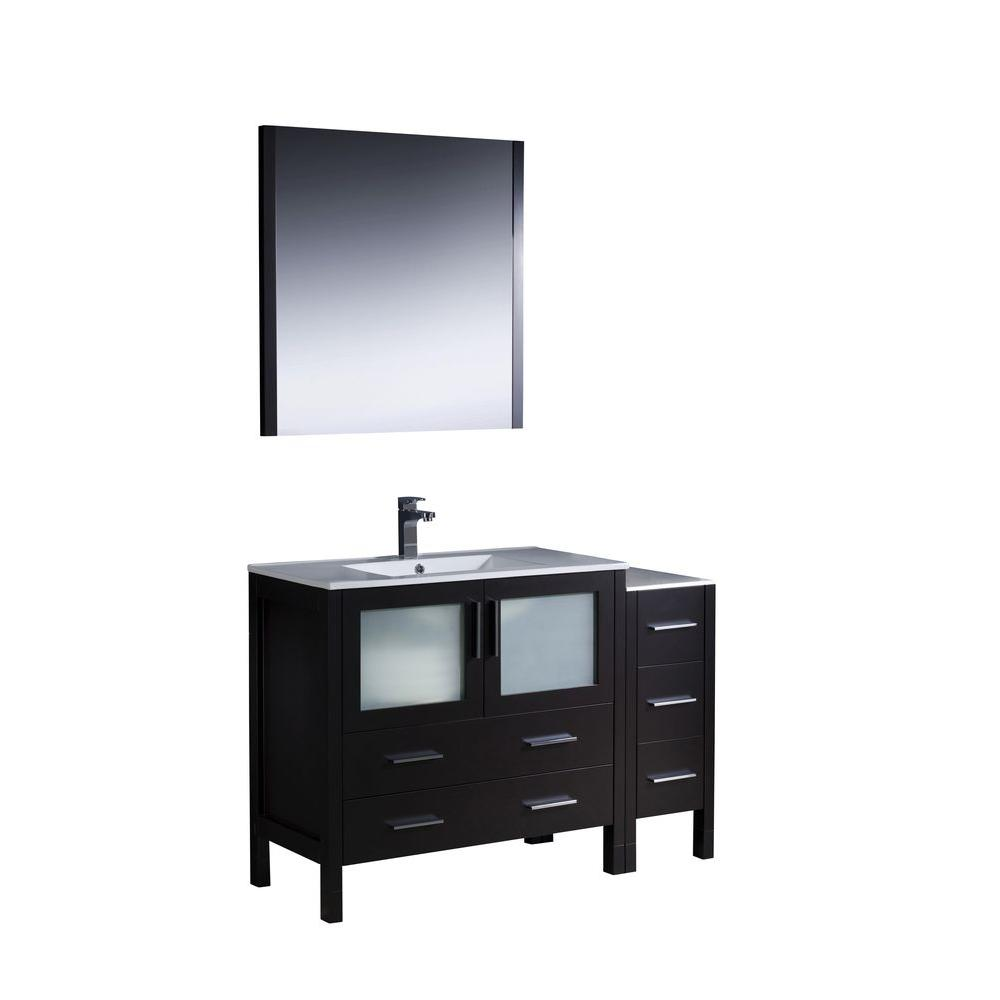 Fresca Torino 48 in. Vanity in Espresso with Ceramic Vanity Top in White with White Basin and Mirror