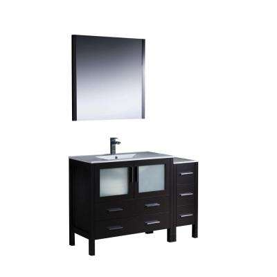 Torino 48 in. Vanity in Espresso with Ceramic Vanity Top in White with White Basin and Mirror
