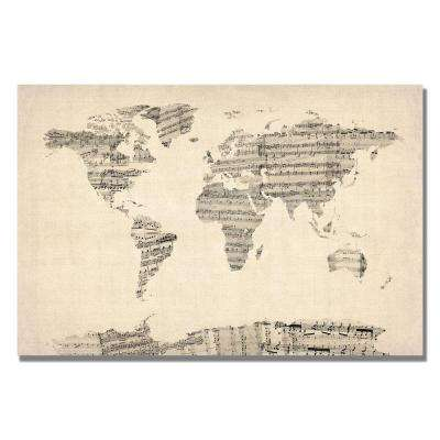 30 in. x 47 in. Old Sheet Music World Map Canvas Art