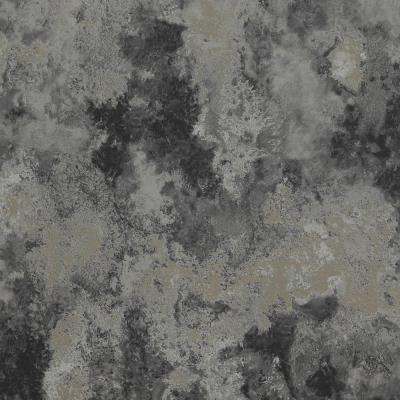 Concrete Cloudy Abstract Metallic Silver and Black Wallpaper