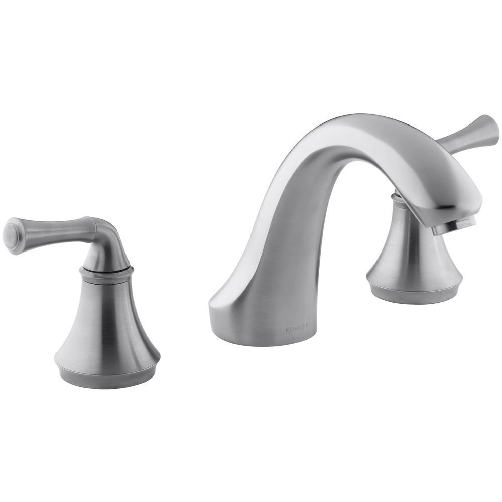 KOHLER Forte 8 in. 2-Handle Bath-Mount/Deck-Mount Bathroom Faucet Trim Kit in Brushed Chrome (Valve Not Included)