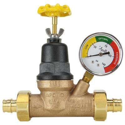 3/4 in. Bronze Double Union PEX-A Barb Water Pressure Regulator  with  Gauge