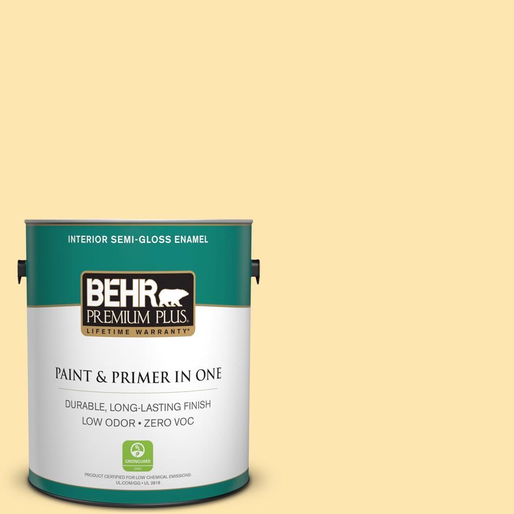 1-gal. #350B-4 Lemon Souffle Zero VOC Semi-Gloss Enamel Interior Paint