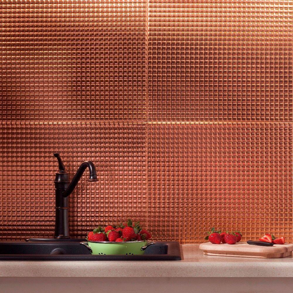 Fasade 24 in. x 18 in. Squares PVC Decorative Backsplash Panel in Polished Copper