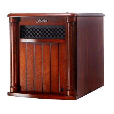 6 Quartz Element Solid Wood Cabinet Infrared Portable Heater with Remote Control in Cherry