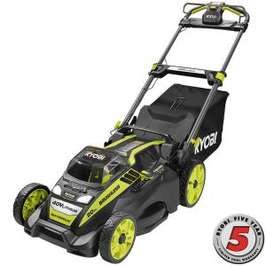 Ryobi 20 inch 40-Volt Brushless Lithium-Ion Cordless Battery Self Propelled Lawn Mower with 5.0 Ah Battery and... by Ryobi