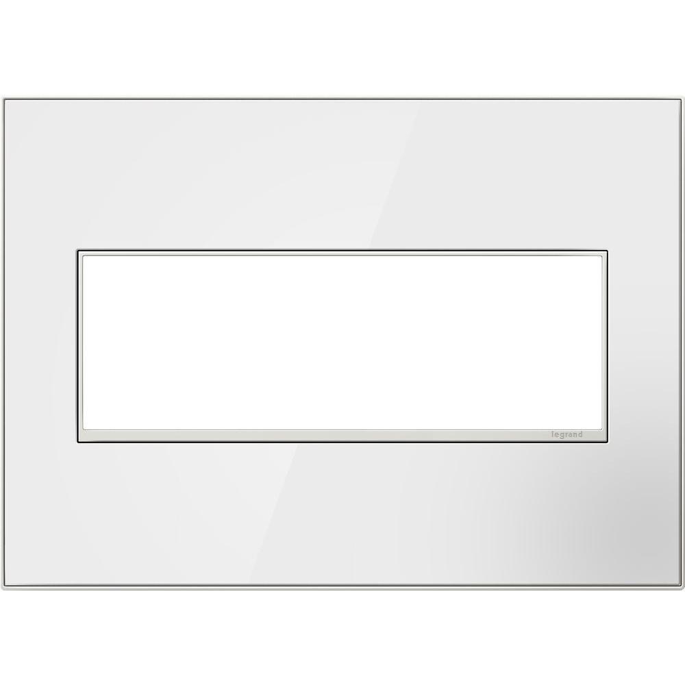 Legrand adorne 3-Gang 2 Module Wall Plate, Mirror White