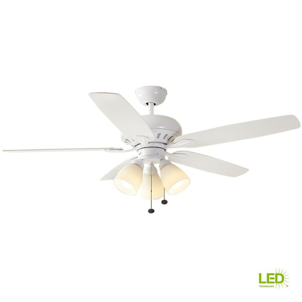 Hampton Bay Rockport 52 In Led Brushed Nickel Ceiling Fan With Green Red Wire On Light Wiring 3 White Wires Matte Kit