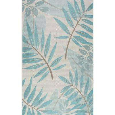 Trudy Turquoise Indoor/Outdoor 10 ft. x 14 ft. Area Rug
