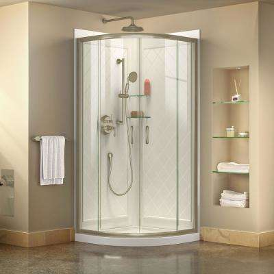 Prime 36 in. x 76-3/4 in. Semi-Frameless Corner Sliding Shower Enclosure in Brushed Nickel with Base and Backwalls