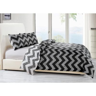 Wyatt 3-Piece Black Full/Queen Comforter Set