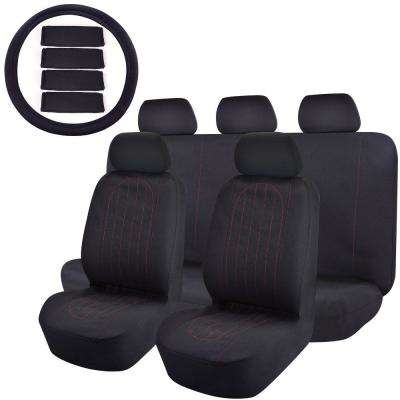 47 in. x 23 in. x 1 in 14PC Universal Fit Full Set Flat Cloth Fabric Car Seat Cover for Car SUV Truck or Van, Black
