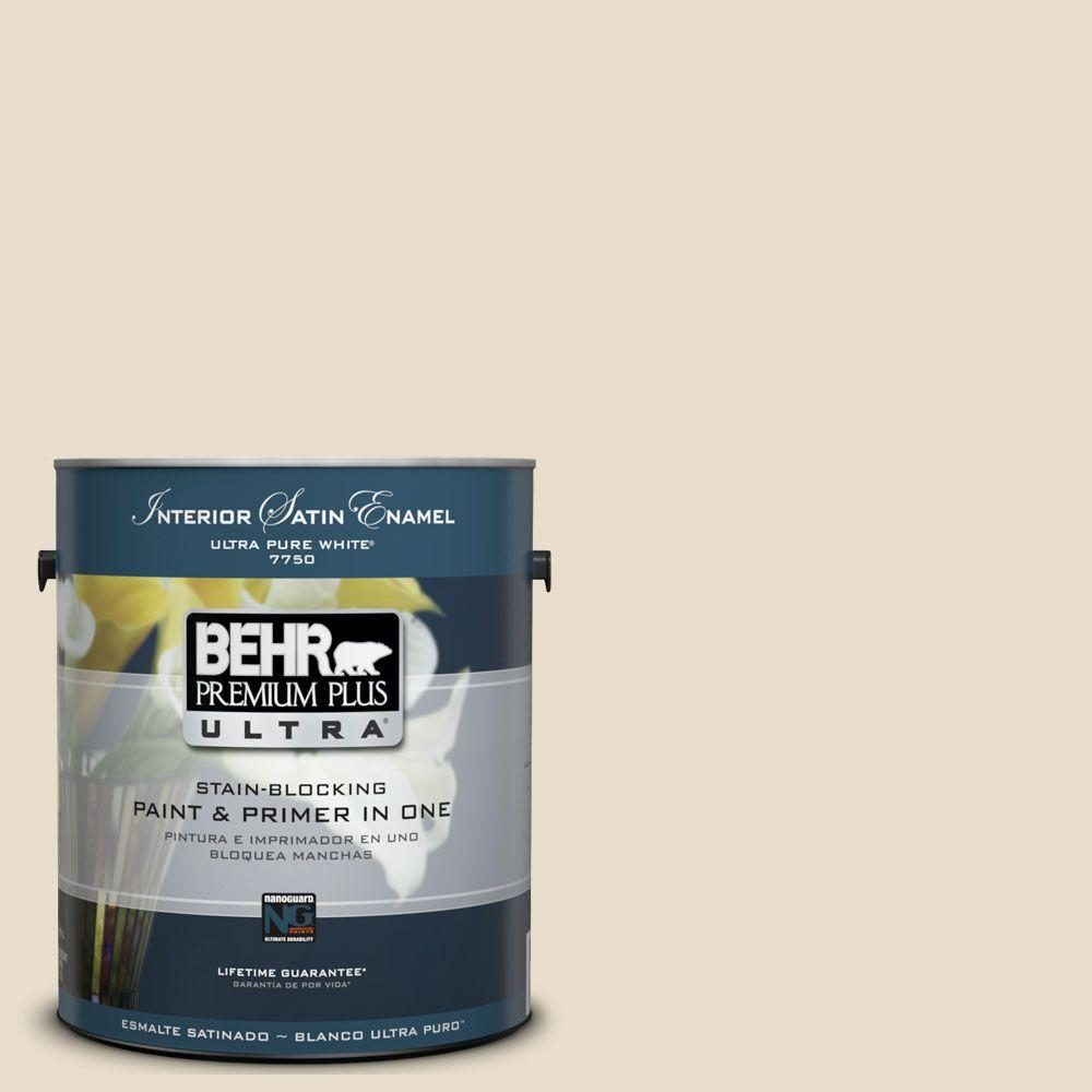 1 gal. #UL150-10 Aged Parchment Satin Enamel Interior Paint and Primer