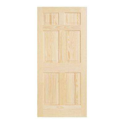 30 In X 80 In Pine Unfinished 6 Panel Solid Wood Interior Door Slab