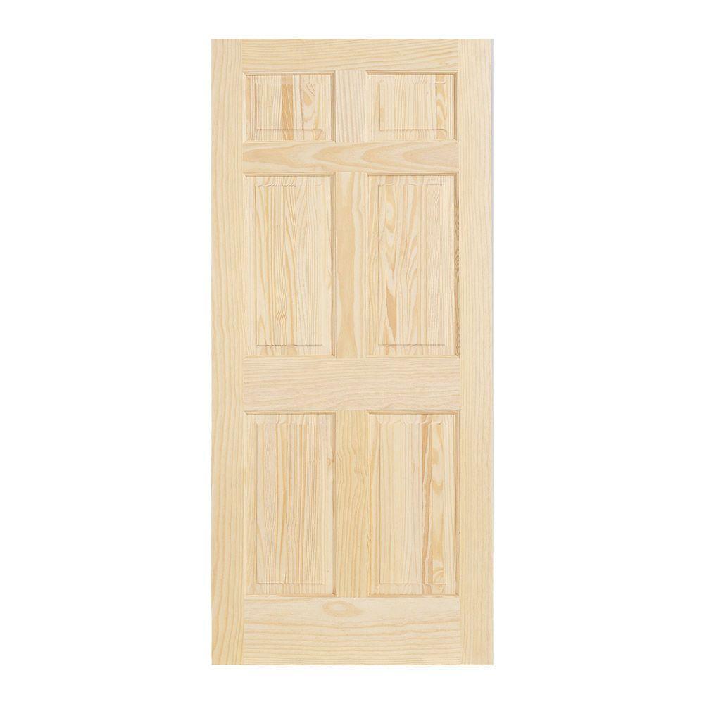 30 in. x 78 in. Pine Unfinished 6-Panel Wood Interior Door Slab
