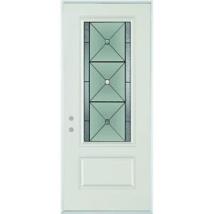 Stanley Doors 32 in. x 80 in. Bellocchio Patina 3/4 Lite 1-Panel Painted White Right-Hand Inswing Steel Prehung Front Door-1540E-BN-32-R-P - The Home Depot  sc 1 st  The Home Depot & Stanley Doors 32 in. x 80 in. Bellocchio Patina 3/4 Lite 1-Panel ... pezcame.com