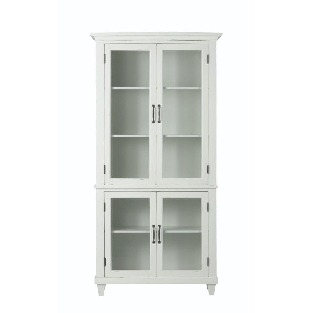 Home decorators collection martin ivory glass door for Home decorators bookcase