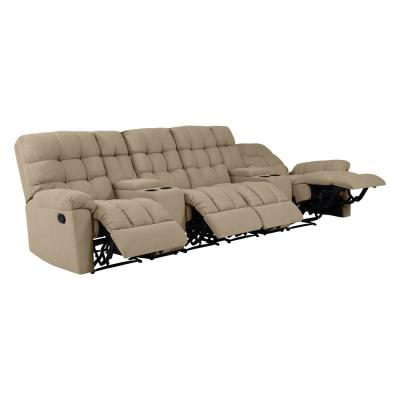 4-Seat Tufted Recliner Sofa with 2-Storage Consoles and USB Ports in Barley Tan Plush Low-Pile Velour
