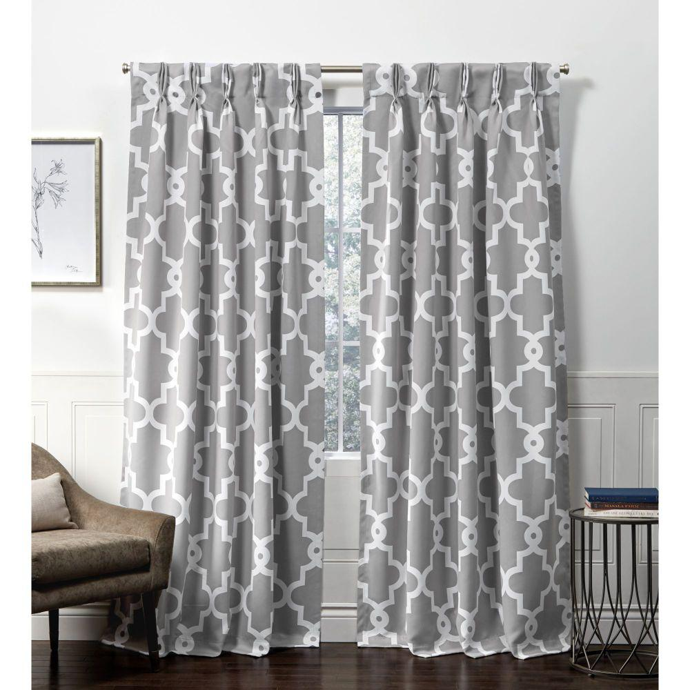 Exclusive Home Curtains Ironwork PP Silver Blackout Triple Pinch Pleat Top Curtain Panel - 27 in. W x 84 in. L (2-Panel)