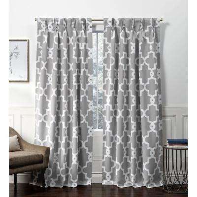 Ironwork PP Silver Blackout Triple Pinch Pleat Top Curtain Panel - 27 in. W x 84 in. L (2-Panel)
