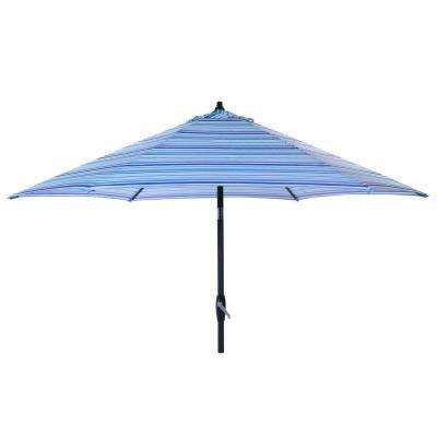 9 ft. Aluminum Market Tilt Patio Umbrella in Thompson Stripe