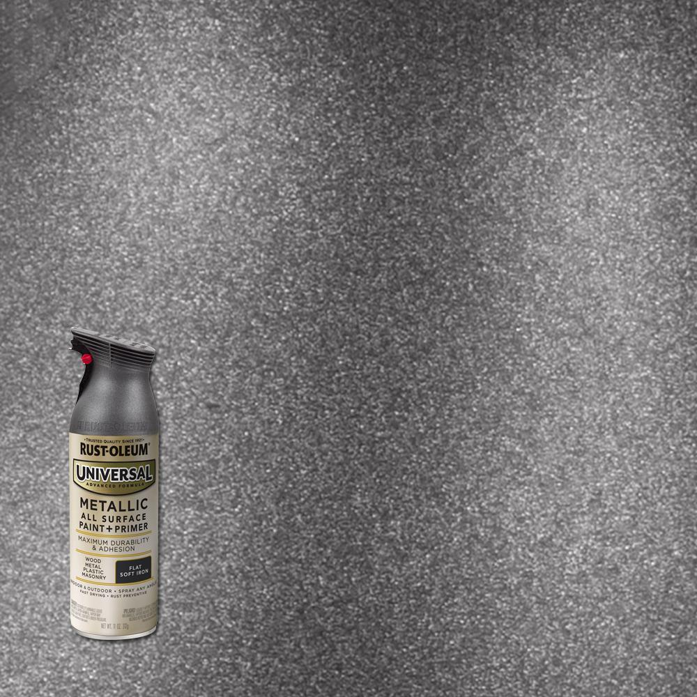 Rust-Oleum Universal 11 oz. All Surface Metallic Soft Iron Spray Paint and Primer in One
