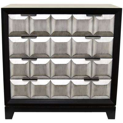 Silver Wood Cabinet with 4-Drawers