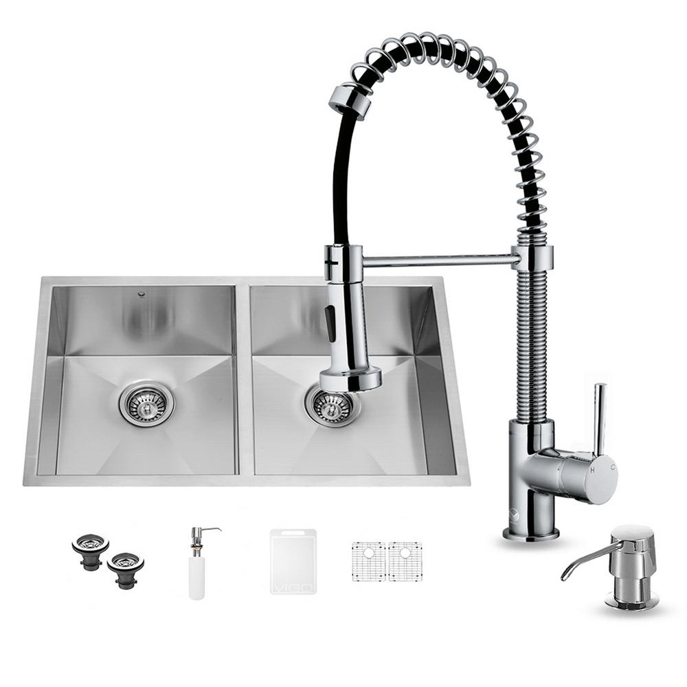 All-in-One Undermount Stainless Steel 32 in. 0-Hole Double Bowl Kitchen Sink