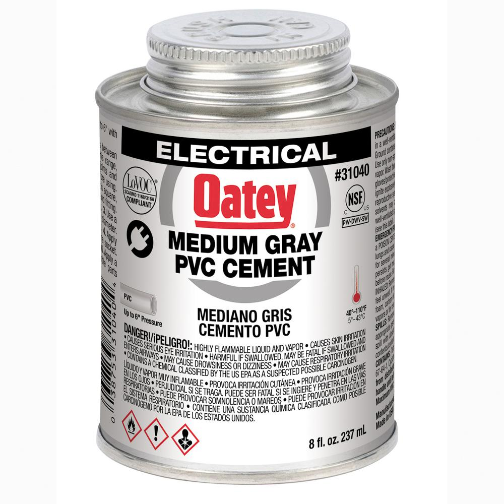 Oatey 8 Oz Pvc Electrical Solvent Cement Gray 31040 The Home Depot