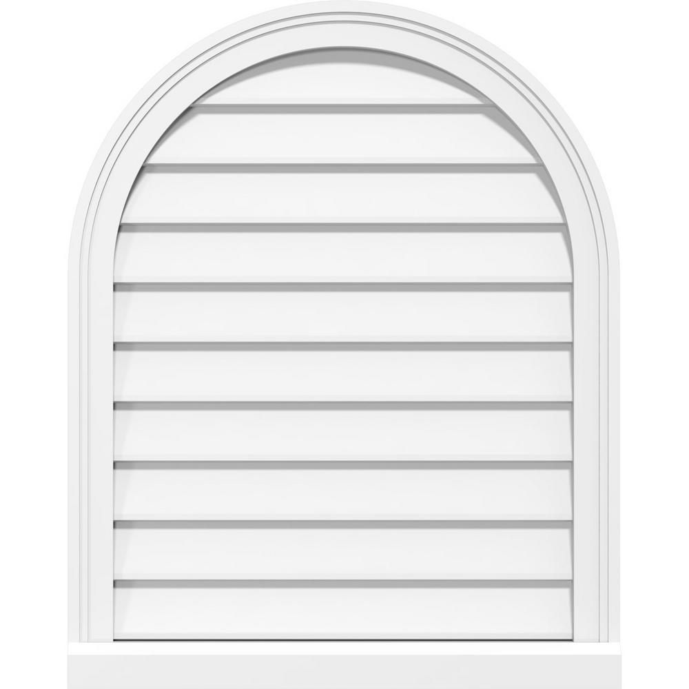 Ekena Millwork 40 In X 34 In Round Top White Pvc Paintable Gable Louver Vent Non Functional Gvprt40x3403sn The Home Depot