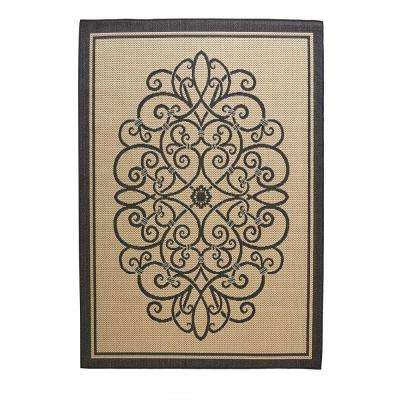 Border Iron Gate Cream/Black 5 ft. 3 in. x 7 ft. 4 in. Indoor/Outdoor Area Rug