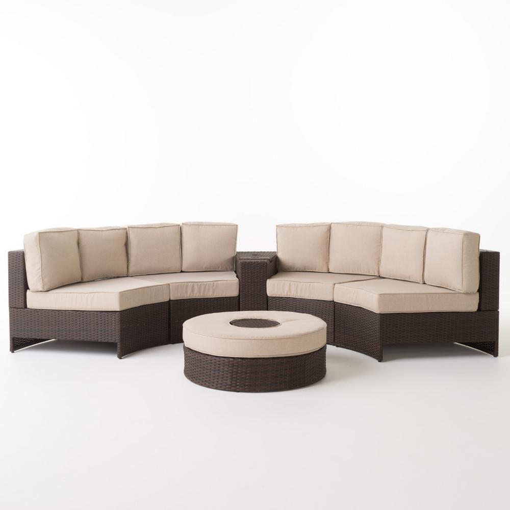 Superb Noble House Madras Brown 6 Piece Wicker Outdoor Sectional Set With Textured Beige Cushions Spiritservingveterans Wood Chair Design Ideas Spiritservingveteransorg