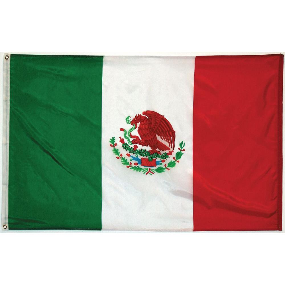 3 ft. x 5 ft. Mexico Flag with 6 ft. Metal