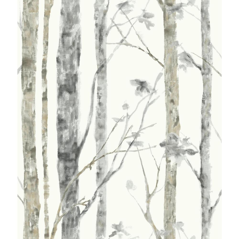 Birch Trees Vinyl Peelable Roll Wallpaper (Covers 28.18 sq. ft.)