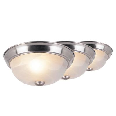10 in. 1-Light Brushed Nickel Flush Mount Ceiling Light with Marbleized Glass (3-Pack)