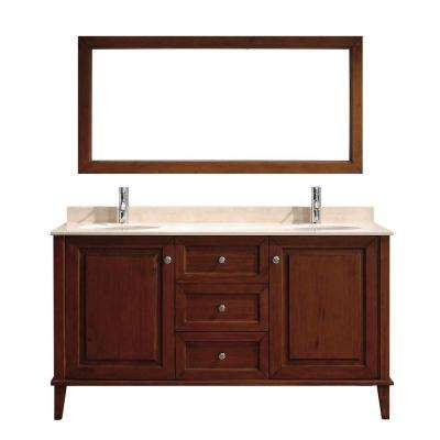 Lily 63 in. Vanity in Classic Cherry with Marble Vanity Top in Classic Cherry and Mirror