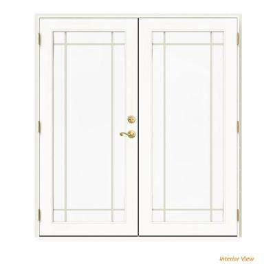 72 in. x 80 in. W-2500 Vanilla Clad Wood Right-Hand 9 Lite French Patio Door w/White Paint Interior