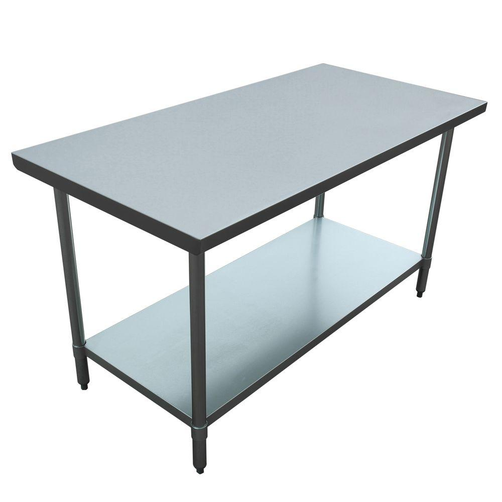 seville classics stainless steel kitchen utility table she18308 the home depot. Black Bedroom Furniture Sets. Home Design Ideas
