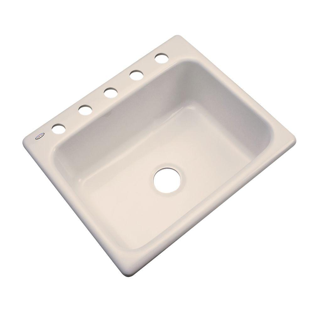 Thermocast Inverness Drop-In Acrylic 25 in. 5-Hole Single Bowl Kitchen Sink in Candlelyght