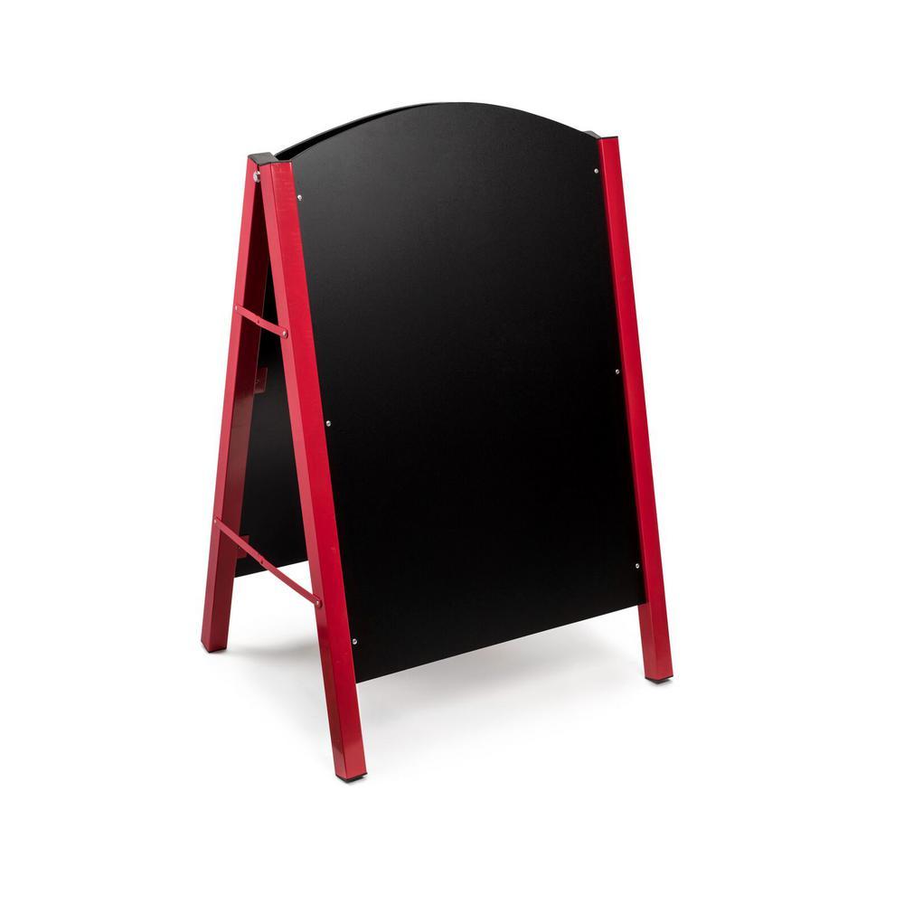40 in. x 26 in. Steel Double Sided Red Standing Menu Board Chalkboard Sidewalk Sign