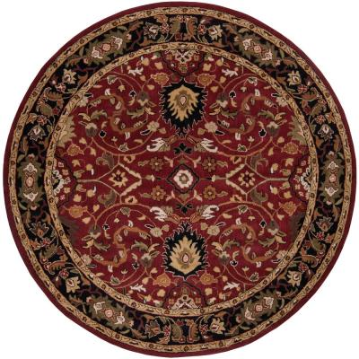 John Red 8 ft. x 8 ft. Round Border Area Rug