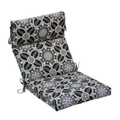 21.5 in. x 24 in. High-Back Outdoor Dining Chair Cushion in Black Tile (2-Pack)
