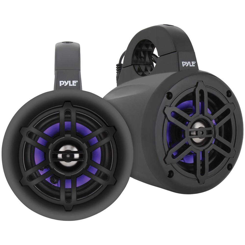 4 in. 300-Watt Waterproof Marine Wakeboard Tower Speakers with LEDs in Black Ready to add some marine wakeboard speakers to your watercraft This pair of Pyle PLMRLEWB47BB 4 in. 300-Watt Waterproof Marine Wakeboard Tower Speakers feature ABS grilles, built-in LED lights and UV-resistant coating. These black 2-way full-range speakers have 4 in. long excursion subwoofers, 1 in. titanium dome tweeters and Bluetooth capabilities with a range up to 30+ ft. for music streaming. These marine tower speakers fit roll bars up to 1.96 in. in diameter.
