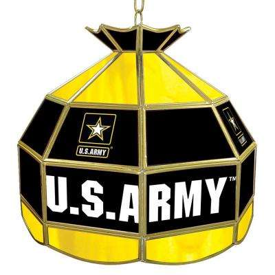 United States Army 16 in. Gold Hanging Tiffany Style Lamp