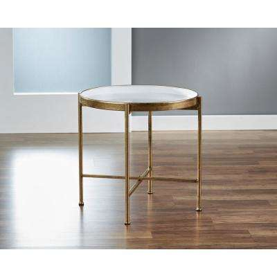 20 in. Large Gild Pop Up White Tray Table