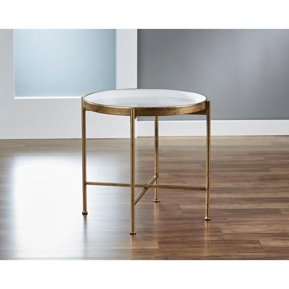 InnerSpace Luxury Products Large Gild Pop Up White Tray Table