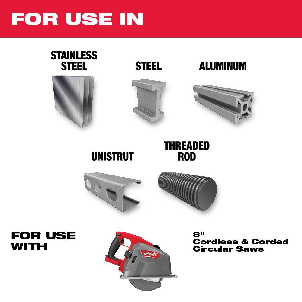 8 in. x 42 Carbide Teeth Metal & Stainless Cutting Circular Saw Blade