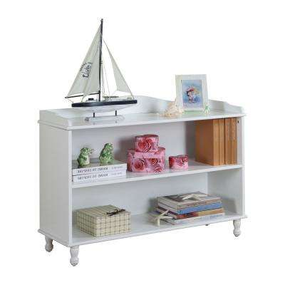 White Wood Childrens 2 Tier Bookcase